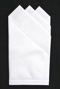POCKET-SQUARE-white-3-point-Custom-pre-folded-amp-Sewn-just-slips-in-pocket