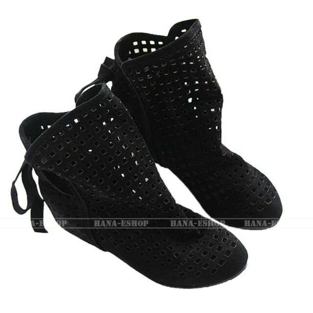 Winter Flat Sandals Ankle Boots Hollow Shoes Casual Womens Booties 8 7 6 5 4 3 2