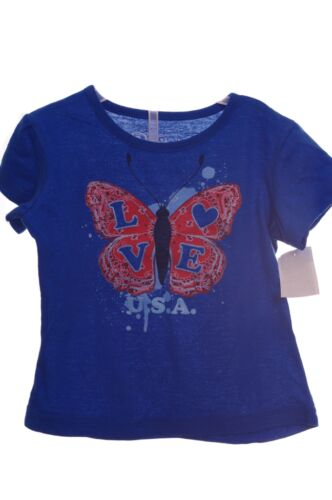 Girls USA America Butterfly Glitter Shirt Top 2T 3T 4T 5T 4th Fourth of July NEW