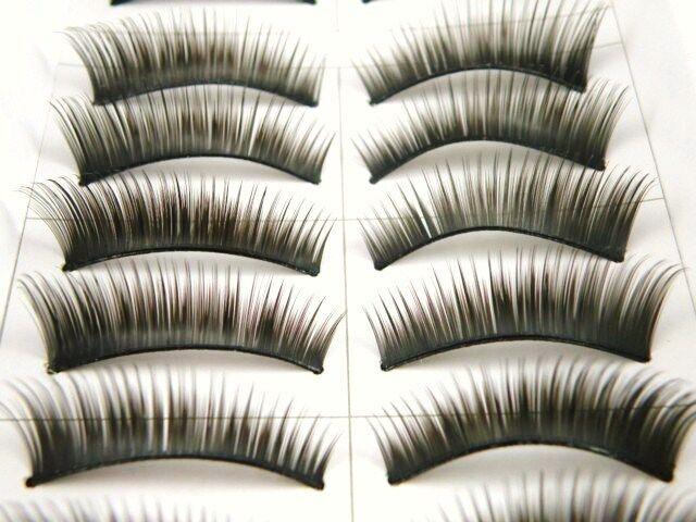 10 Pairs False Fake Individual Eyelashes Lashes Winged / Party - 1088