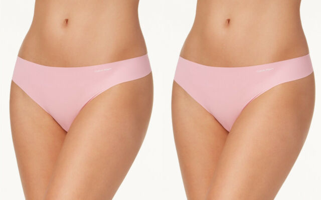 92f3180b95bf Calvin Klein 2-Pack Invisibles Thong in Penelope Pink, Small D3428