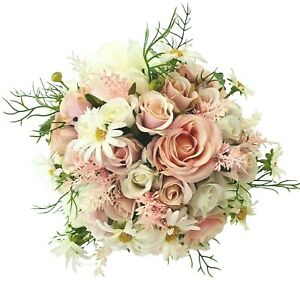 Silk-Wedding-Bouquets-Bride-Bridesmaid-Flowers-Pink-Peonies-Roses-amp-Buttonhole