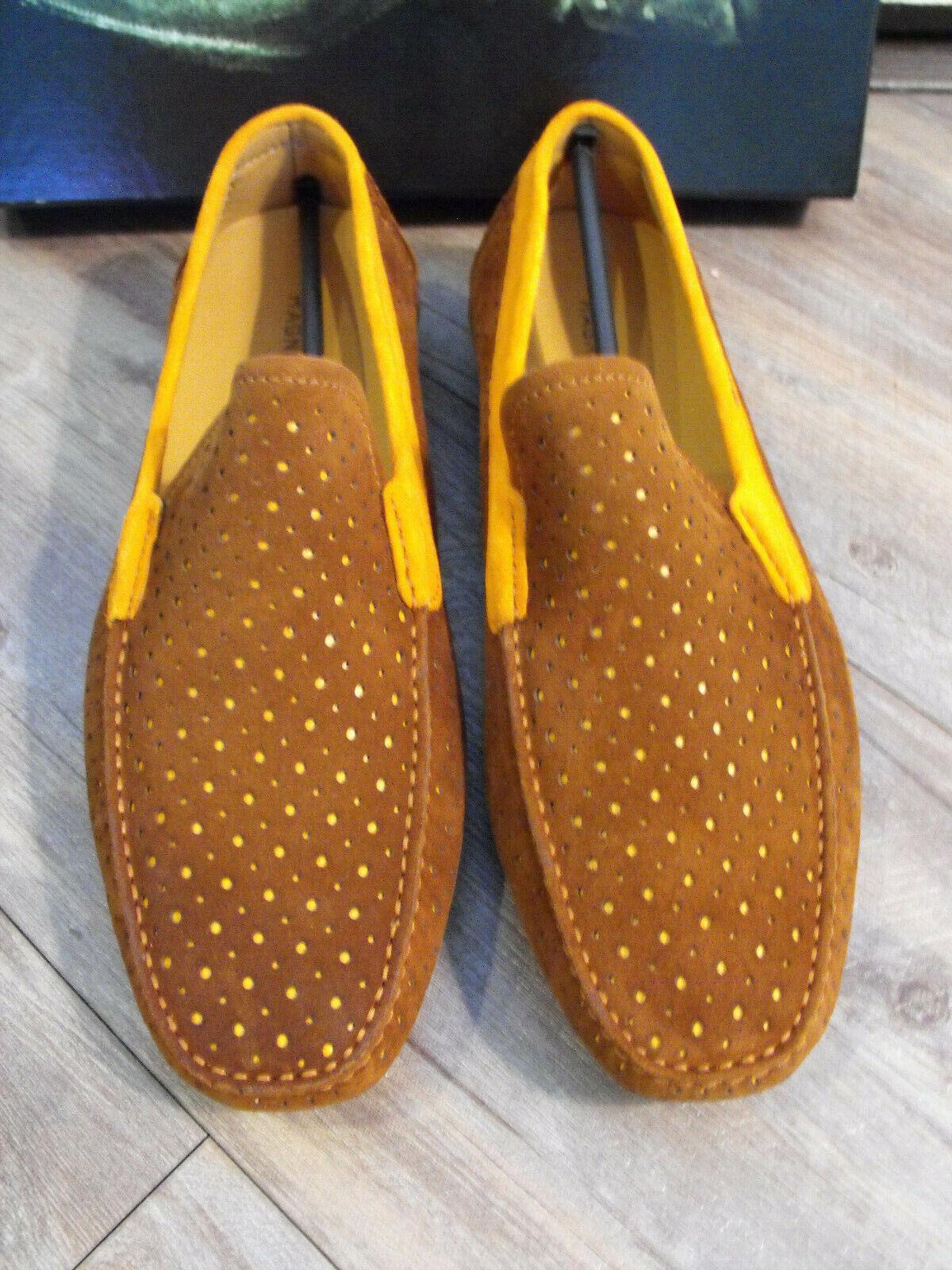 RARE   NIB Magnanni handmade marrón naranja Loafers Talla US11 UK10 EU44