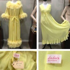 Lala S Vintage Yellow Marabou Feather Robe 2 Piece Peignoir Set Nightgown Nighti Ebay