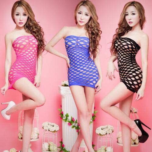 Bodysuit Fishnet Nightwear Lady Charm Mesh Lingerie Tights Strapless Night Dress