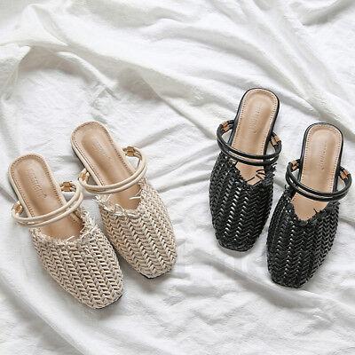 Memela Clearance sale Women Flat Sandals Slip On Outdoor Shoes Summer Toepost Flat Woven Beach Slippers Shoes