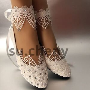 flat wedding shoes for bride white light ivory lace pearls crstal flat ballet wedding 4099
