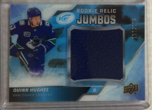 2019-20-UD-Ice-Rookie-Relics-Jumbos-Quinn-Hughes-161-199-Vancouver-Canucks-RC-SP
