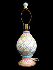 """1990's MacKenzie Childs 23"""" Tulip Table Lamp with Finial"""