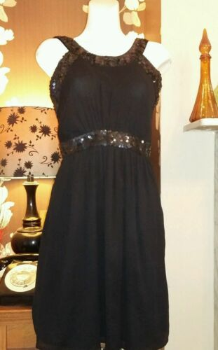 Sequinned Size Dress Evening New Monsoon Party 14 Black SqxPE
