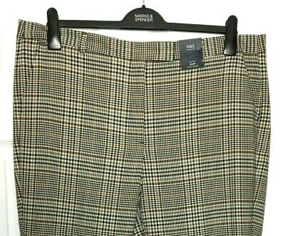 LADIES M/&S SIZE 14 18 20 ITALIAN WOOL LINED SLIM ANKLE GRAZER STRETCH TROUSERS