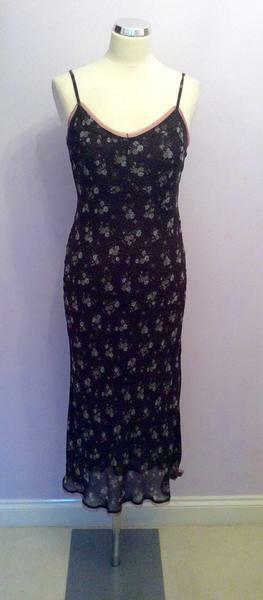 JIGSAW BROWN FLORAL PRINT STRAPPY DRESS SIZE 10