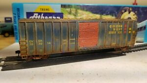 Athearn-Roundhouse-HO-Golden-West-50-039-Weathered-boxcar-Railbox-type-patched