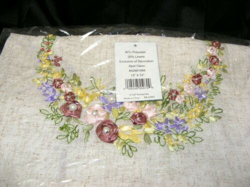 """Details about  /Spring Wreath Table Runner Sewn Beaded Ribbon Floral Art 72/"""" Natural Farm House"""