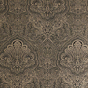 Exclusive henna velvet flock black gold damask wallpaper for Carta da parati in velluto