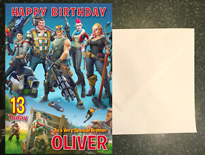 Personalised Fortnite Birthday Card Any Name Age Relation Ebay