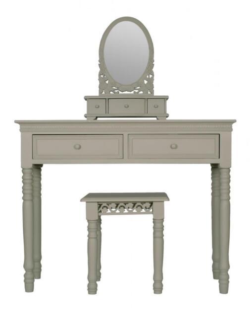 FRENCH GREY Belgravia style DRESSING TABLE MIRROR + STOOL set shabby/chic