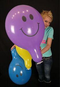 3-x-grosse-TUFTEX-17-034-Luftballons-SMILEY-GEMISCHTE-PASTELLFARBEN-TUF-TEX