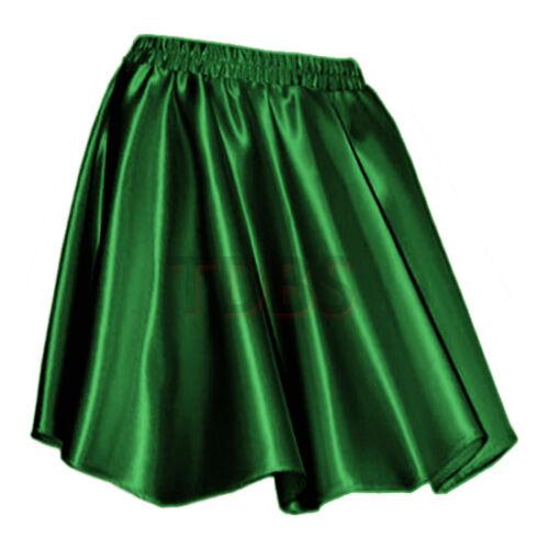 GREENWomen Lady Satin Shiny Mini Skirt Pleated Retro High Waist Club S~3XL