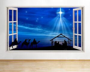 Wall-Stickers-Christmas-Nativity-Scene-Star-Window-Decal-3D-Art-Vinyl-Room-C721