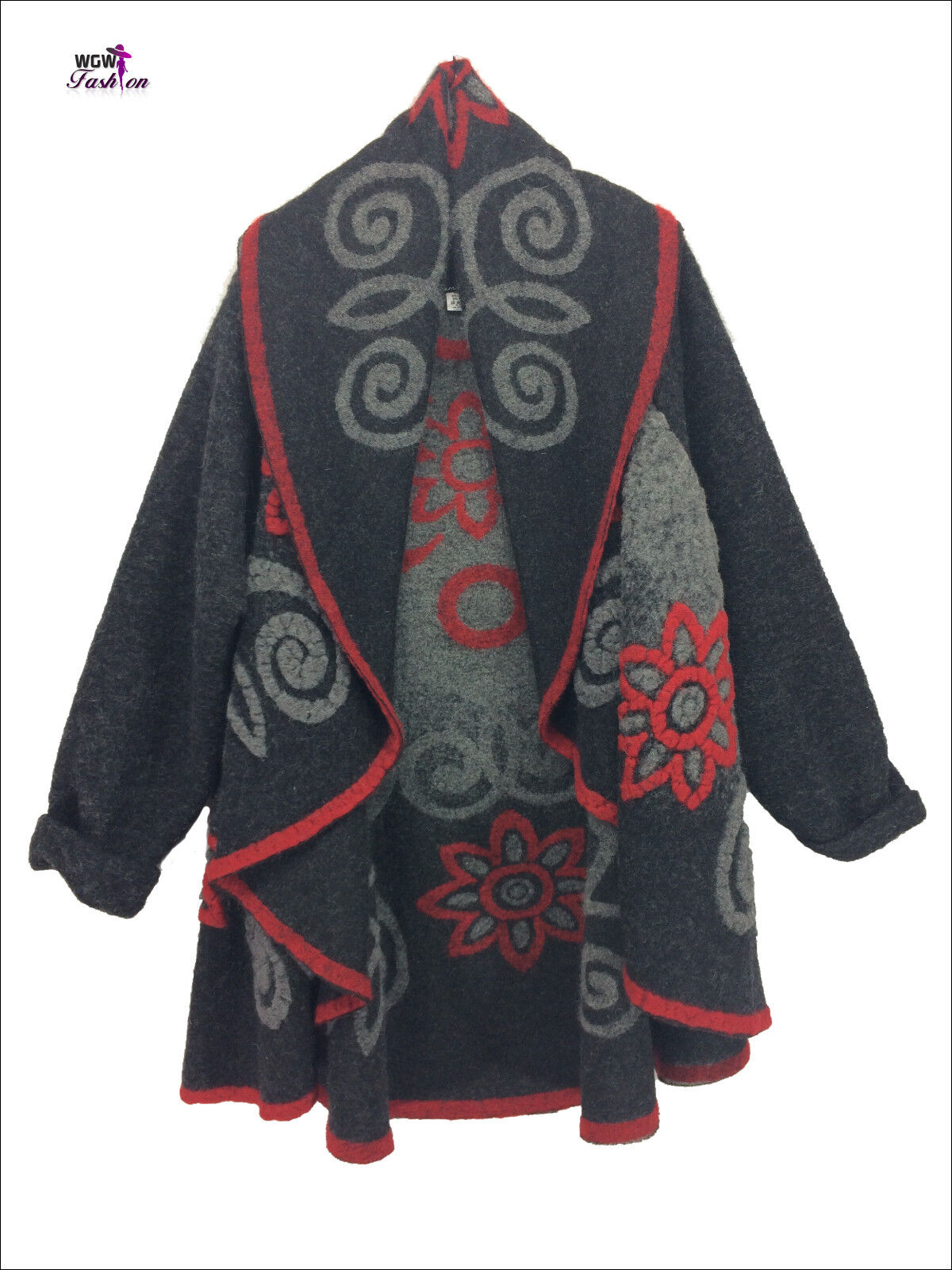 Quirky Lagenlook Italian Spiral Longsleeve Wool Gilet One Größe 10 - 16