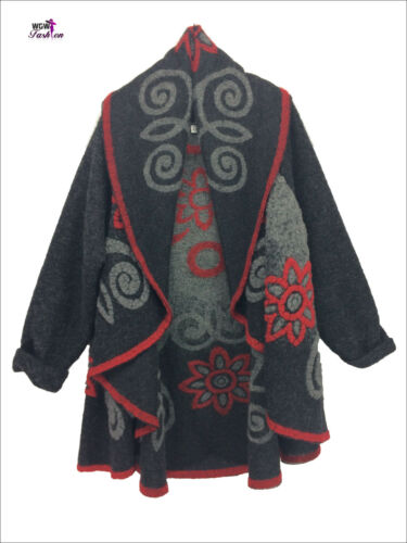 Wool Quirky Taglia Longsleeve Italian Lagenlook Gillet 16 Spiral unica 10 xT1TIq4
