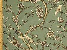 Dwell studio Vintage Blossom  Trees Birds Scenic Blue Upholstery Drapery Fabric