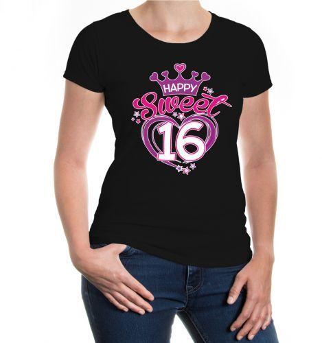 Damen Girlie T-Shirt Happy sweet 16 glücklich süß Geburtstag birthday B-Day