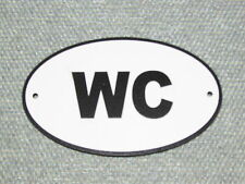 WATER CLOSET WC Wood English Bathroom Sign Plaque Restroom Black Letters