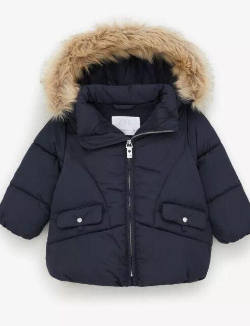 Zara Baby Girl Puffer Jacket Faur Fur Navy Blue Size 12-18 ...