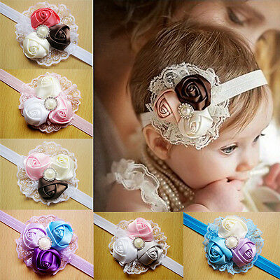 Baby Girls Vintage Lace Flower Hairband Soft Elastic Headband Hair Accessories