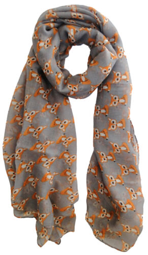 The Olive House® Womens Fox Cub Scarf Grey Foxes
