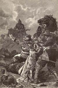 Sweden-KING-DEATH-GUSTAVUS-ADOLPHUS-Battle-of-Lutzen-1882-Art-Print-Engraving
