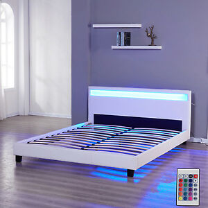 Queen Size Platform Bedroom Bed Frame Leather Headboard LED