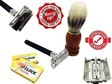 New Mens Shaving Set Double Edge Butterfly Safety Razor Grooming Kit +10 Blades