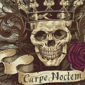 Alexander-Henry-Gothic-Royal-Carpe-Noctem-Skull-Fabric-in-Vintage-Red-METRE