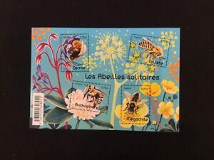 France-Bloc-Feuillet-Timbres-Neufs-Ref-F5052-Abeilles-Solitaires-2016