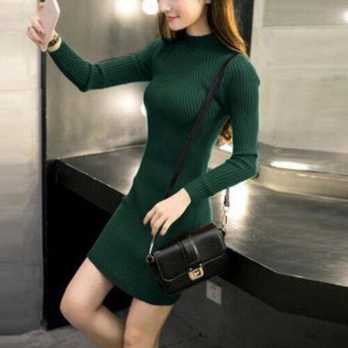 Femmes Automne Hiver Slim Robe Pull Moulante Col Roulé Tricoté Pull En Tric I
