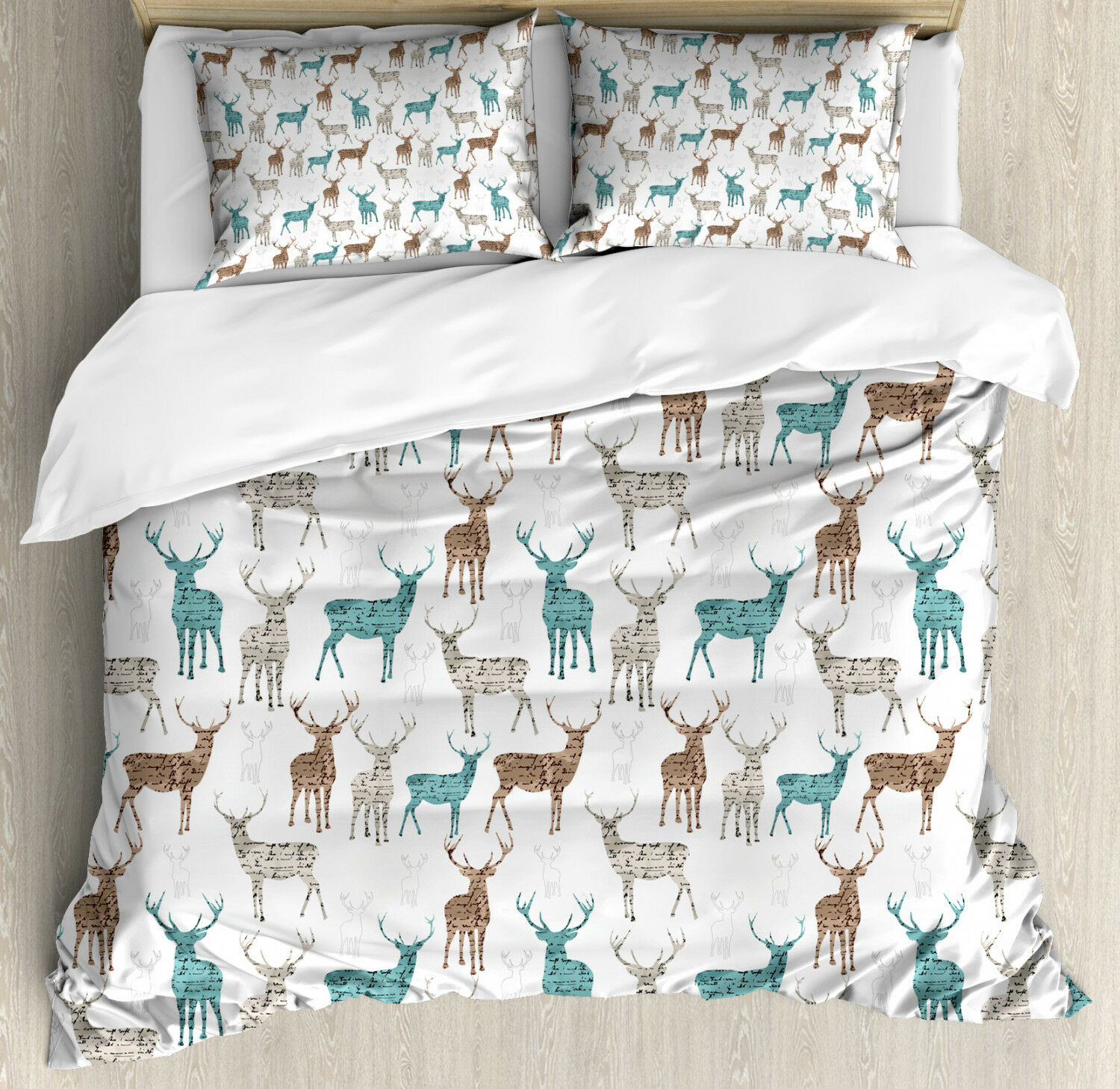 Deer Duvet Cover Set with Pillow Shams Old Text Animals Christmas Print