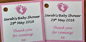 Image Is Loading 1 100 PERSONALISED BABY SHOWER TAGS LABELS GIFT