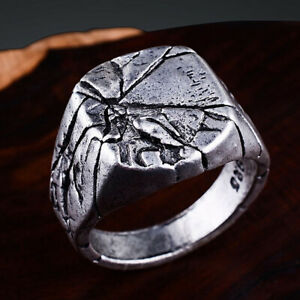Men-039-s-Cracking-Pattern-Punk-Rings-Domineering-Bark-Crack-Ring-Silver-Jewelry-Hot