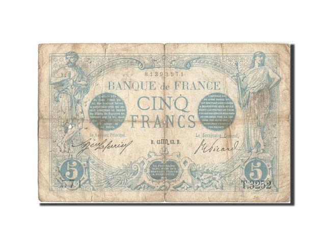 [#209032] France, 5 Francs, 5 F 1912-1917 ''Bleu'', 1913, KM:70, 1913-10-13