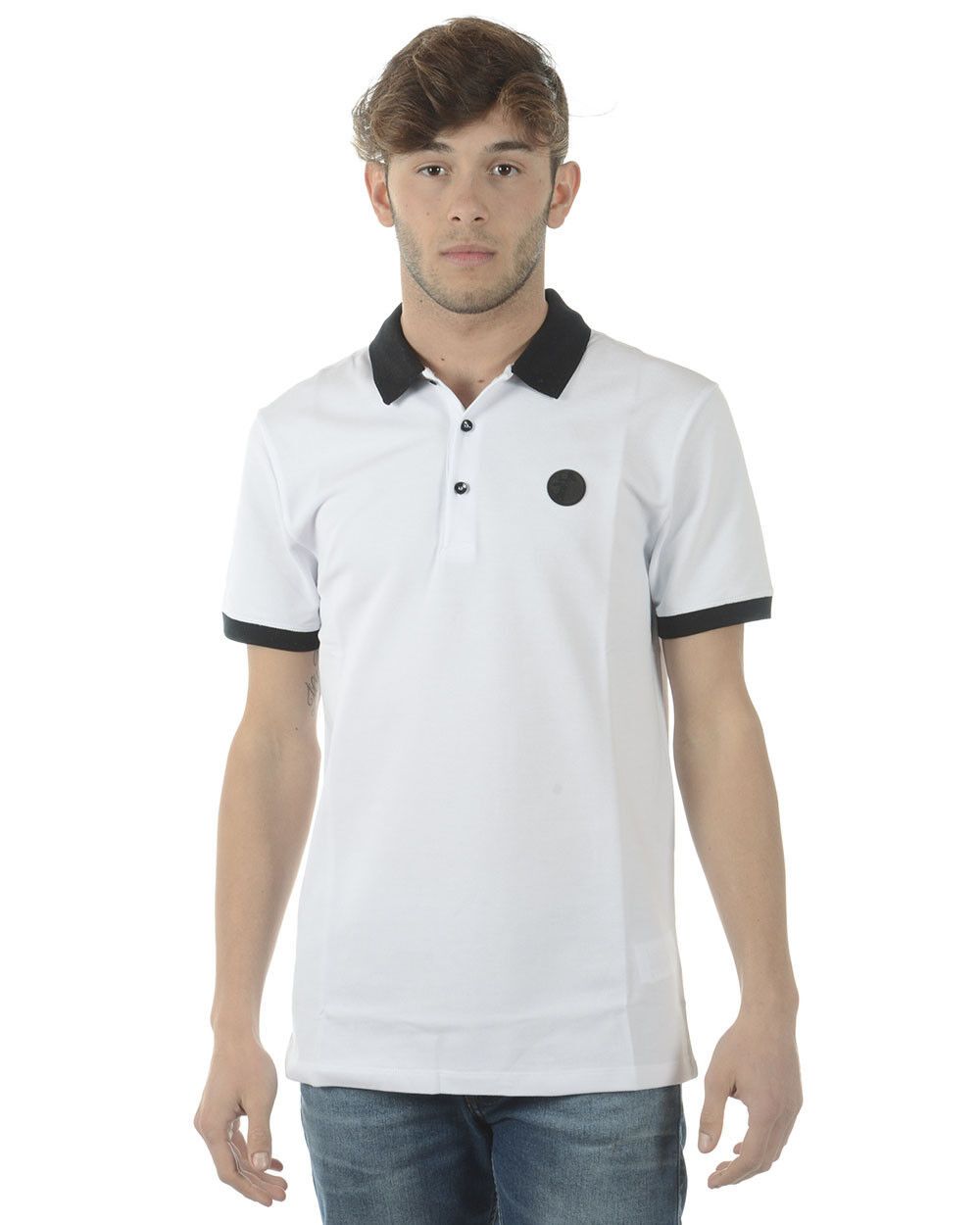 Versace Collection Polo Shirt Cotton Man White V800488SVJ00003 V7001