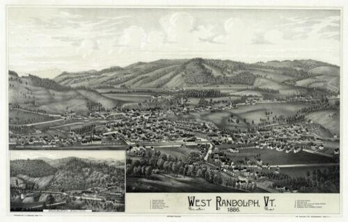2976 West Randolph Vt view 1886 Decorative Poster.Fine Graphic Art Design
