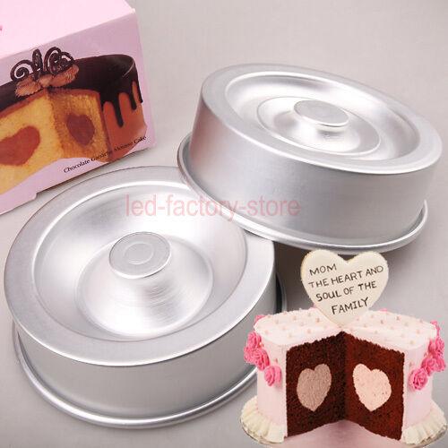 "6/8"" Heart Tasty Fill Cake Baking Pan Tin Set Non-Stick Sugarcraft Decorating #T"