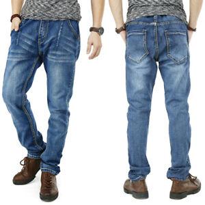 Mens-Jeans-Straight-Leg-Regular-Fit-Jogger-Pants-Elastic-Waist-amp-Drawstring-W30