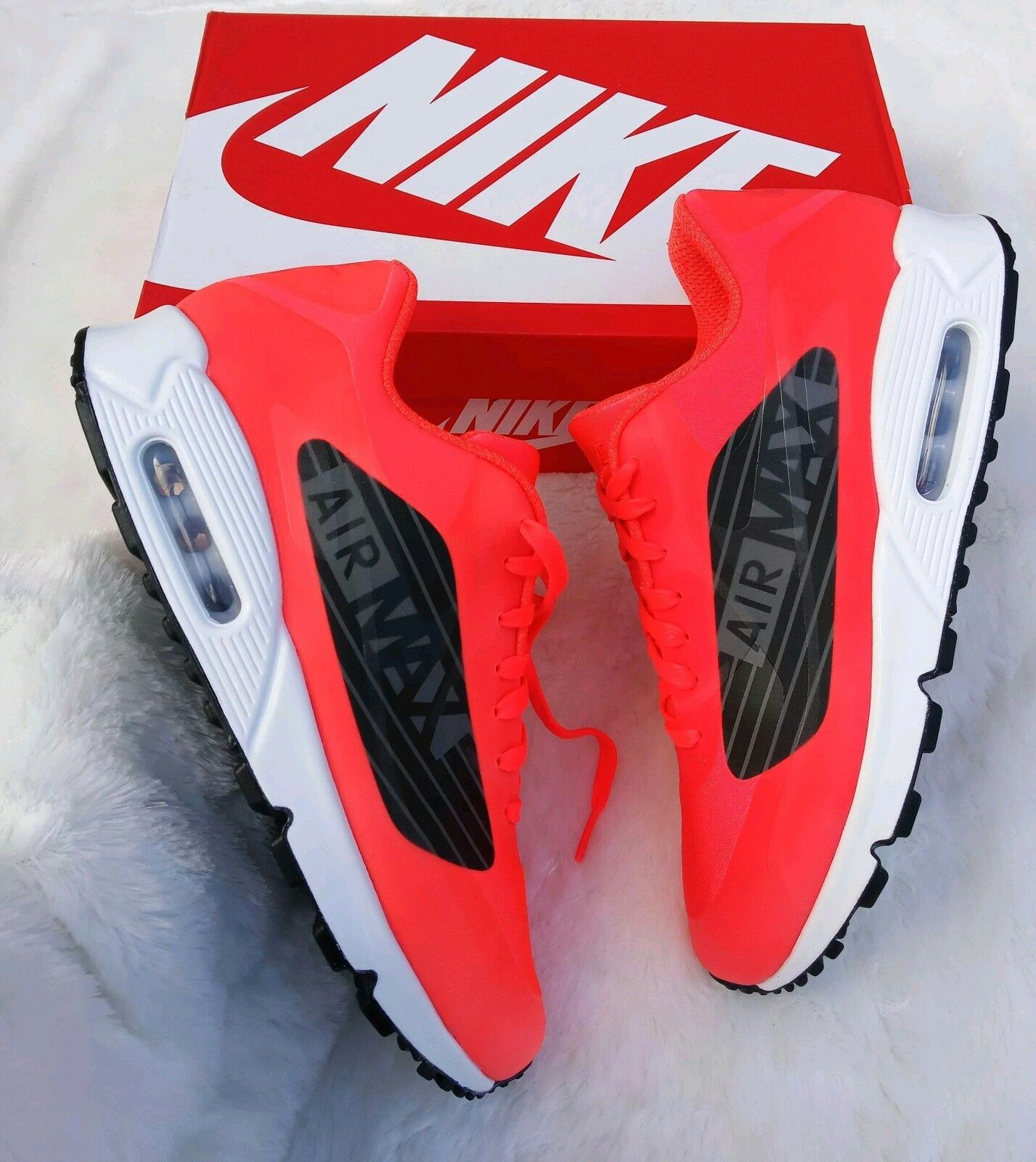 9.5 Men's Nike Air Max 90 Big Logo orange white black running casual multicolor