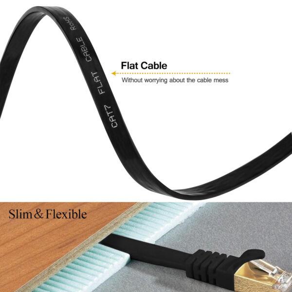 CAT7 Flat Ethernet Cable,(Black - 2M) CAT7 Snagless RJ45 Ethernet Network Patch