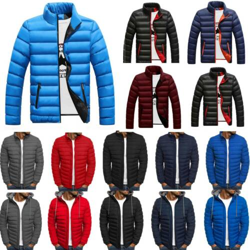 Mens Winter Padded Coat Jacket Puffer Bubble Warm Zipper Coats Outwear Overcoat