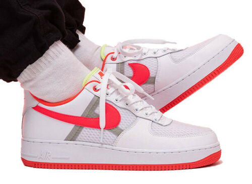 New NIKE Air Force 1 Low 07 leather mesh Mens sneakers white crimson sz 10-13